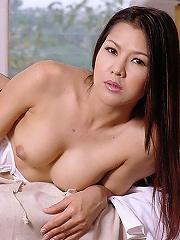 Busara strips white bra and black stockings