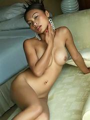Amazing Thai girl shows her shaved Thai twat