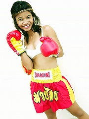Bangkok teen Tussinee in a sexy Muay Thai boxing outfit