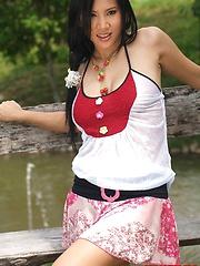 Busty Thai Cutie Nancy Ho Strips Dress Outdoors